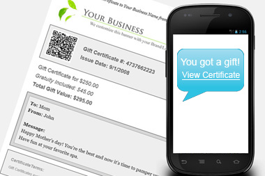 Your customers can choose to send gift certificates via SMS Text Message